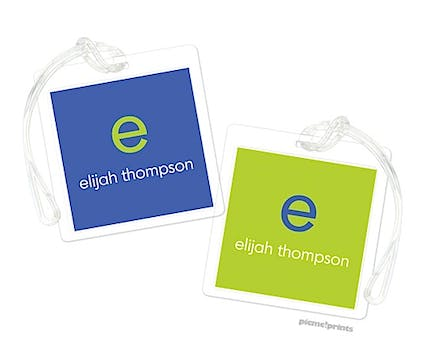 Cobalt Chartreuse Square Luggage Tag