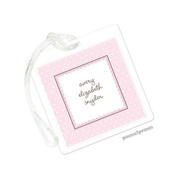 Ruffle Dots Pink ID Tag