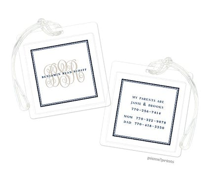 Tailored Monogram Navy Luggage Tag