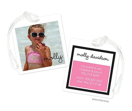 Digital Photo Block Bubblegum Luggage Tag