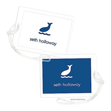 White Navy Luggage Tag