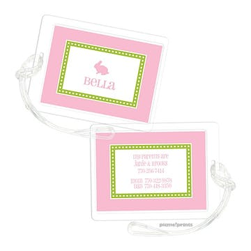Dotted Border Bubblegum Luggage Tag