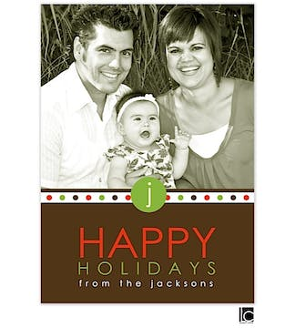Green, red and brown holiday Flat Photo card