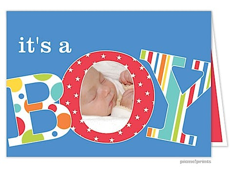 It's A Boy Photo Birth Announcement