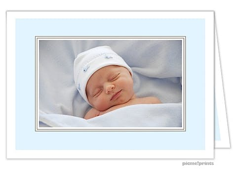 Just Perfect Baby Blue Boy Photo Birth Announcement