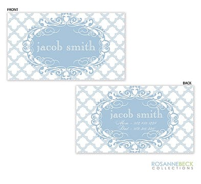 Scalloped Calling Card - Blue