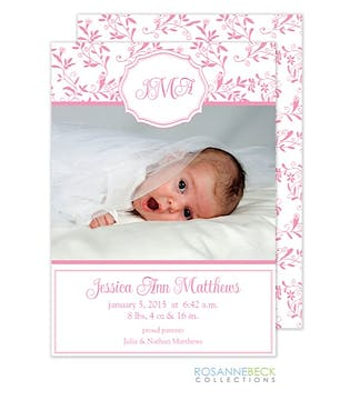 Spring Floral - Pink Girl Photo Birth Announcement