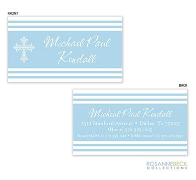 Striped Cross Calling Card - Blue