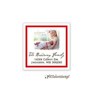 Red Border Photo Square Return Address Label