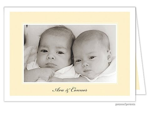 Twin Fawns Butter Girl Photo Birth Announcement