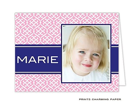 Pink & Navy Stylish Pattern Digital Photo Folded Note