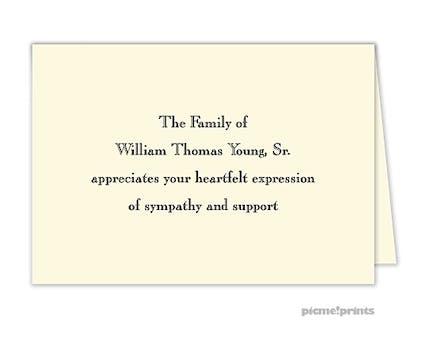 Ivory Folded Sympathy Note