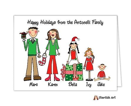 Personalized Character Family Holiday Folded Note Card