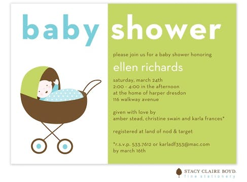 Baby Shower Blue Flat Card