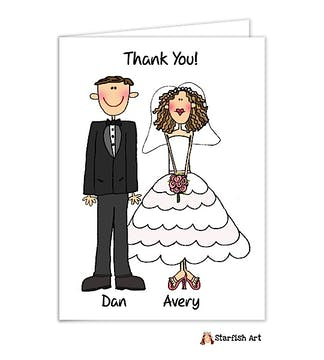 Personalized Character Wedding Note Card