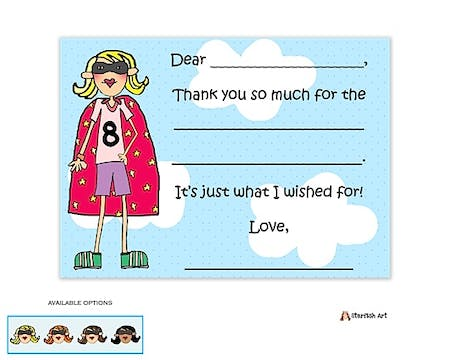 Super Girl Flat Fill-In Notecard
