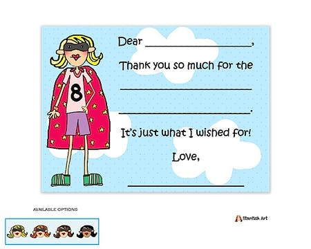 Personalized Character Super Girl Flat Fill-In Notecard