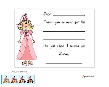 Personalized Character Princess Fill-In Notecard