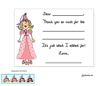 Princess Fill-In Notecard