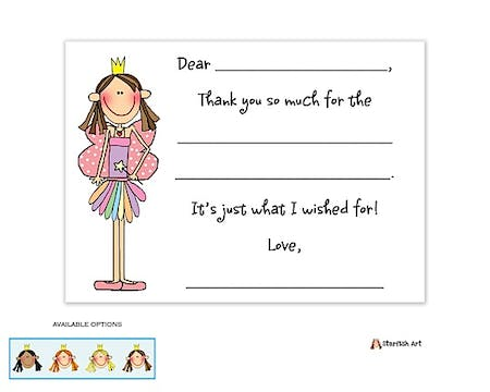 Personalized Character Fairy Princess Fill-In Notecard
