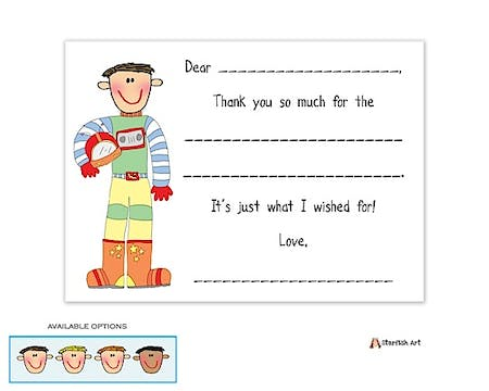Personalized Character Astronaut Fill-In Notecard