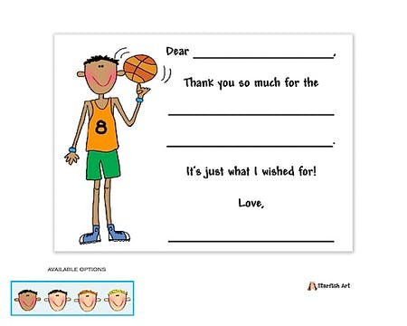 Personalized Character Basketball Fill-In Notecard