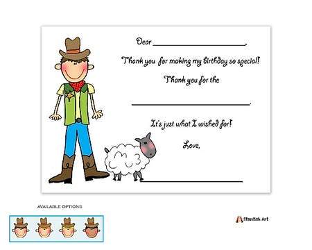 Personalized Character Barnyard Boy Fill-In Notecard