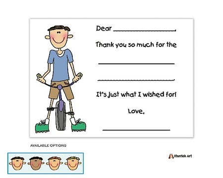 Bicycle Boy Fill-In Notecard