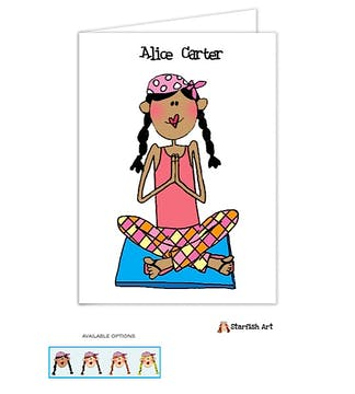 Personalized Character Yoga Folded Note