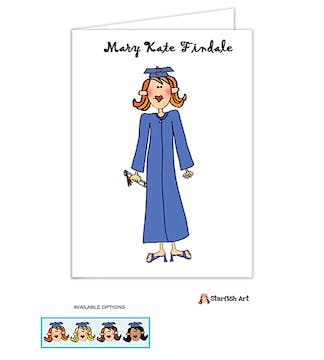 Personalized Character Graduation Girl Folded Note