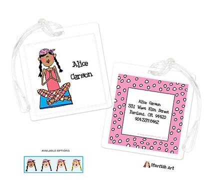 Personalized Character Yoga Square ID Tag