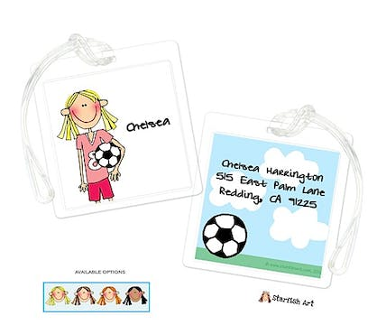 Personalized Character Soccer Square ID Tag
