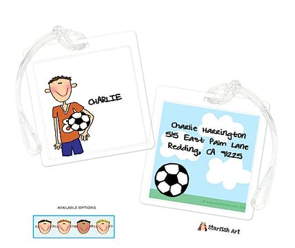 Personalized Character Soccer Boy Square ID Tag