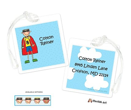 Personalized Character Super Hero Square ID Tag