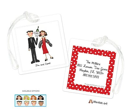 Personalized Character Holiday Fancy Square ID Tag
