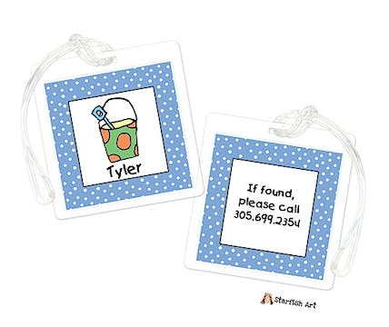 Personalized Character Blue Sand Bucket Square ID Tag