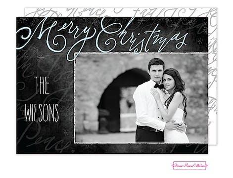 Merry Scripts (Black) Flat Photo Card