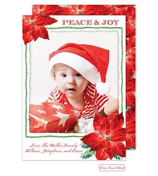 Poinsettia Peace & Joy Flat Photo Card