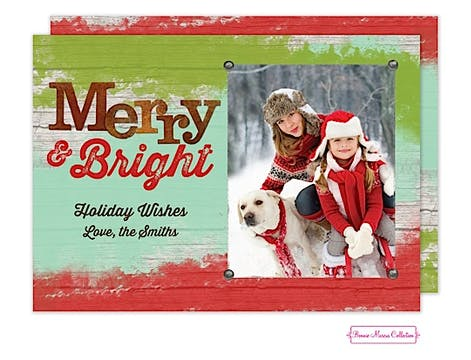 Rustic Merry & Bright Flat Photo Card