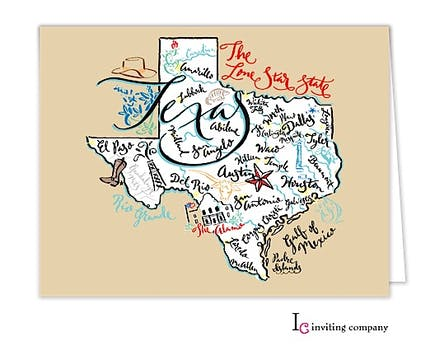 Texas Map Folded Note