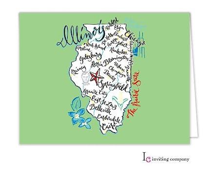 Illinois Map Folded Note