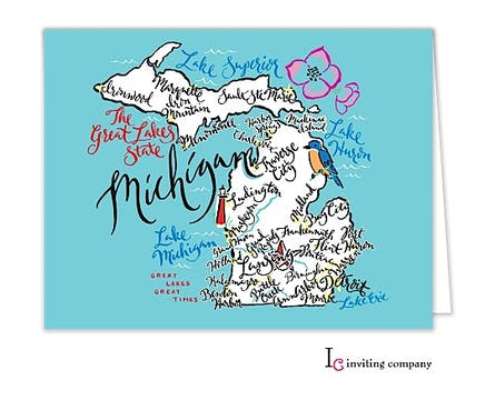Michigan Map Folded Note