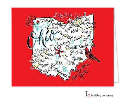 Ohio Map Folded Note