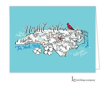 North Carolina Map Folded Note