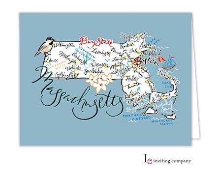 Massachusetts Map Folded Note