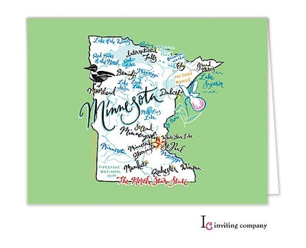 Minnesota Map Folded Note