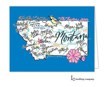 Montana Map Folded Note