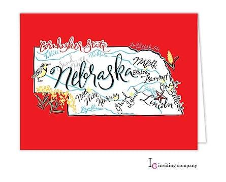 Nebraska Map Folded Note