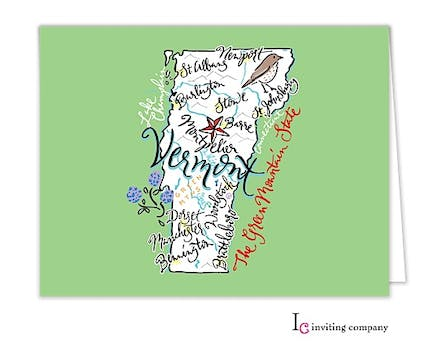 Vermont Map Folded Note