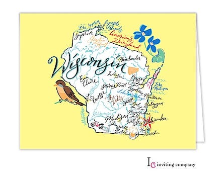 Wisconsin Map Folded Note